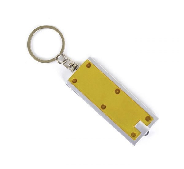 Printed Promotional LED Keyring Torch-yellow