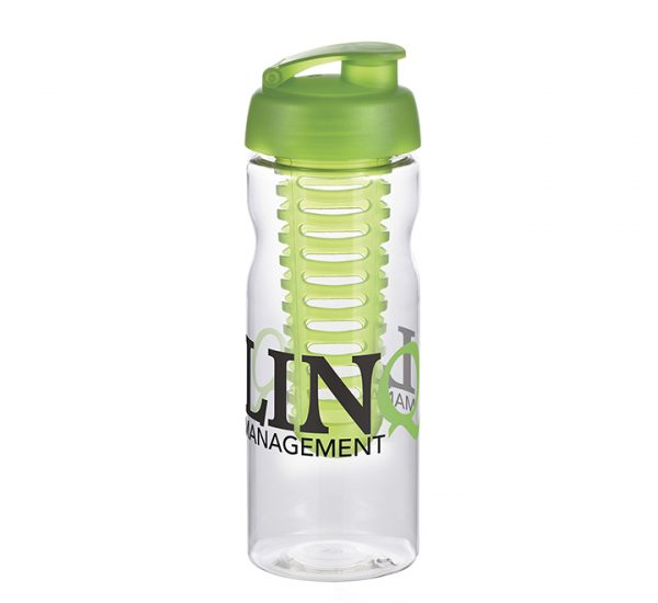 Promotional H20 Sports Bottle-black-clear-green